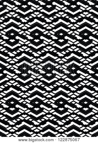 Monochrome abstract textured geometric seamless pattern. Symmetric black and white vector textile backdrop. Intertwine composition.