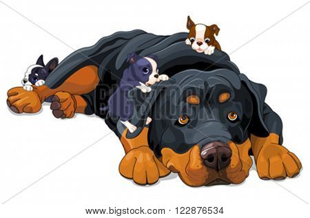Illustration of beautiful Rottweiler family