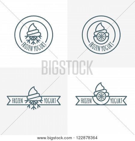 Set Of Vector Outline Logo, Label, Emblem Of Frozen Yogurt.