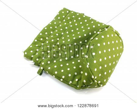 green polka dots fabrice bag on white background