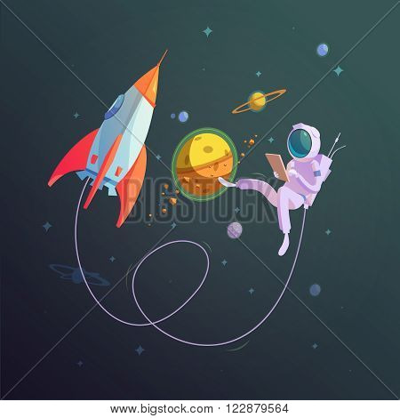 Open space background with rocket and cosmonaut in a spacesuit cartoon vector illustration