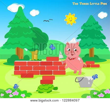 The three little pigs: the third piglet builds a bricks house