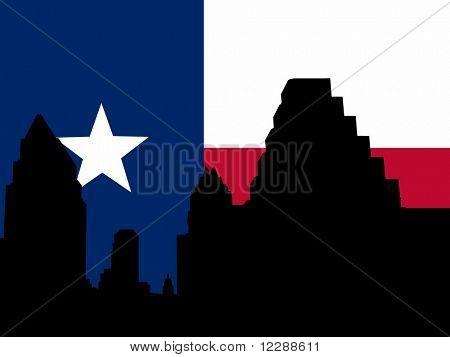 Austin Skyline with Texan flag illustration