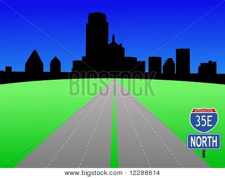 Dallas Skyline with interstate 35E illustration