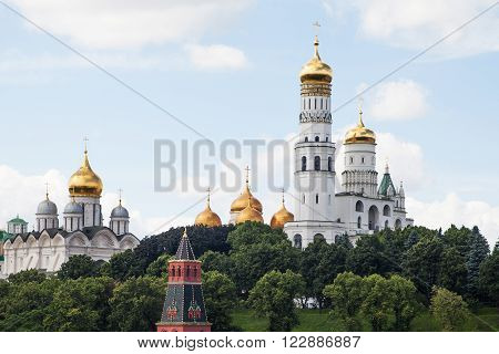 MOSCOW RUSSIA JUNE 12 2013: View to Ivan the Great Bell Tower Cathedrals of Moscow Kremlin.