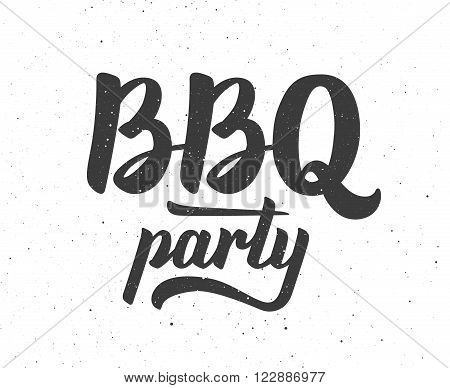 Vintage BBQ party logo. Barbecue text lettering label. Close-up of isolated BBQ party typographic design. Vector illustration