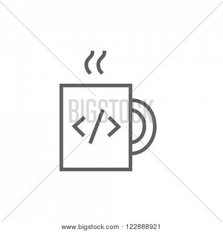 Cup of coffee with code sign line icon.