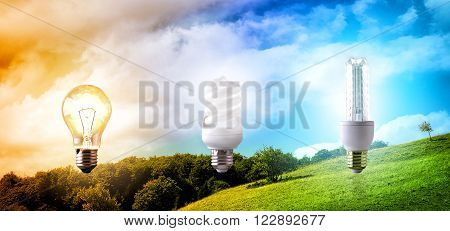 Comparison Between Various Types Of Light Bulb On Landscape Background