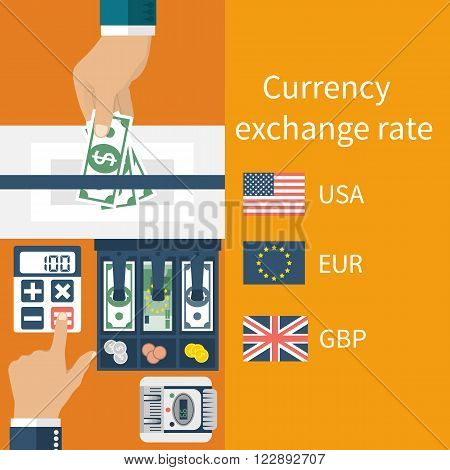 Currency exchange concept. Currency exchange rate. Foreign exchange. Vector illustration flat design style. Money in hand.
