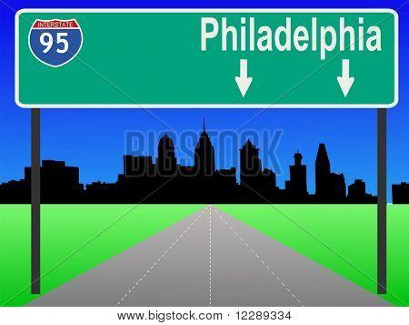 Philadelphia Pennsylvania skyline and interstate 95 JPG