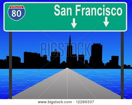 San Francisco skyline and interstate 80 illustration JPG