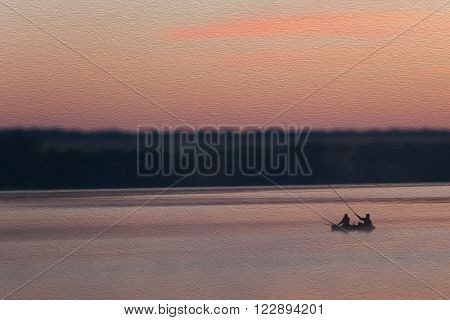 Two fisherman fishing on a boat. Pink sunrise lake morning landscape. forest man rod silhouettes. Oil paint texture