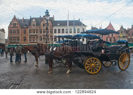 Horse-drawn carriages in Bruges Belgium. Old Market square Grote markt Brugge old city landscape. Oil painting textured image based on photo