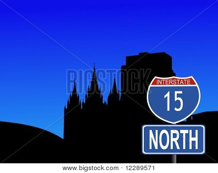 Salt Lake city skyline with interstate 15 sign