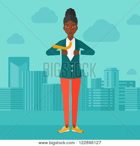 Business woman taking off jacket.