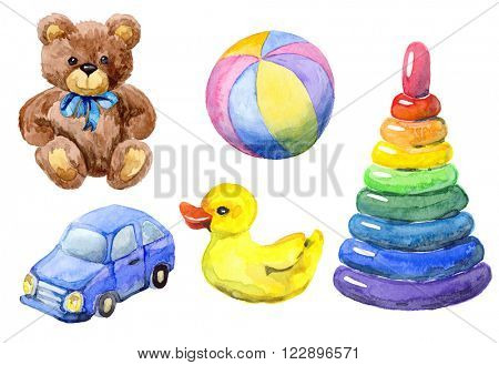 Watercolor set of toys. Hand drawn teddy bear, car, ball, pyramid, duck