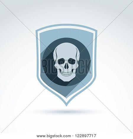Vector illustration of human skull in shield. Dead head abstract symbol cranium icon.