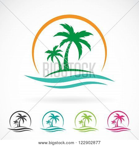 Vector image of an palm tropical tree icon on white background. logo design