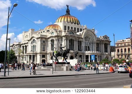 PALACIO DE BELLAS ARTES, MEXICO CITY/MEXICO, JULY 2014. Palace of Fine Arts in the historic center of Mexico City