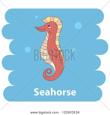 Cute cartoon seahorse vector illustration.Cartoon animal seahorse isolated on background.Sea seahorse, baby seahorse, sea animal.Vector seahorse marine animal.Seahorse vector illustration.