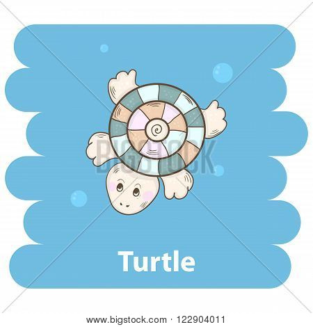 Cute cartoon turtle vector illustration.Cartoon animal turtle isolated on background.Sea turtle, baby turtle, sea animal.Vector turtle marine animal.Cute turtle vector illustration.Turtle character