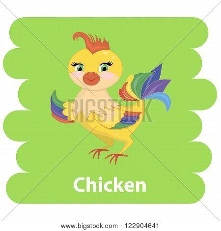 Abstract cartoon chicken.Cartoon chicken vector bird flat style.Chicken bird isolated .Chicken farm bird.Vector Cute Chicken character farm animal bird.Chicken farm bird vector illustration