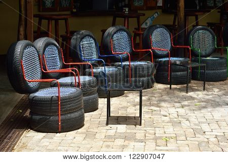 OMBIKA NAMIBIA - FED 3 2016: Chairs made from used car tires. An example of a non-standard design from recycled materials