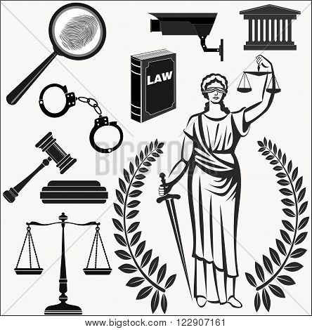 Set  icons  theme judicial law court .Themis . lady justice.