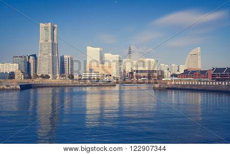 Panorama view at Yokohama minato mirai bayside