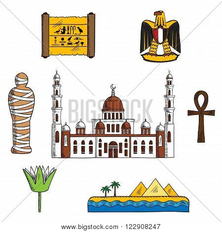 Ancient and modern Egypt symbols for travel design with pharaoh mummy and Giza pyramids, papyrus with hieroglyphics, sacred lotus flower and symbol of life ankh, eagle and Cairo mosque