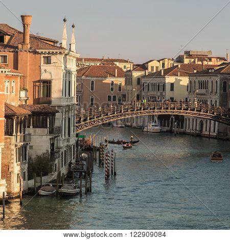 Gondolas Under Ponte Dell'accademia In Venice