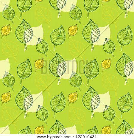 Seamless Leaf pattern.Abstract green leaf, leaf fall, defoliation, autumn leaves , falling leaves.Spring leaf pattern.Leaf vector