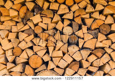 background - woodlogs cleaved for the stove close-up