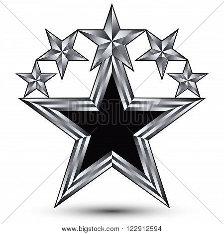 Royal black star with silver outline geometric five stylized silver stars best for use in web and graphic design 3d luxury conceptual vector icon isolated on white background. Symbolic escutcheon