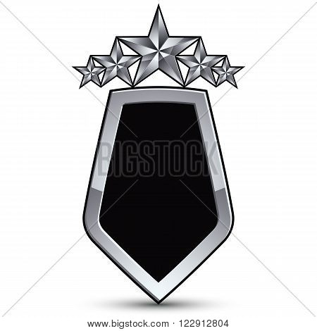 Festive black vector emblem with outline and five silver decorative pentagonal stars 3d royal conceptual design element. Symbolic coat of arms isolated on white background. Heraldic escutcheon.