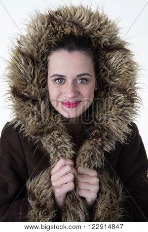 Fabulous Beautiful Young Woman In A Coat.  White Background