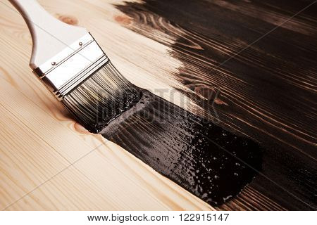 Half painted wooden surface. Black color. Varnishing natural wood with paint brush.