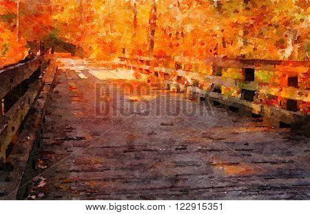 Beautiful Watercolor painting of a Kentucky Bridge