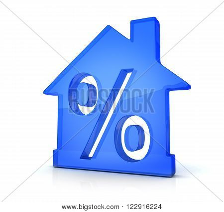 Blue home and percent (done in 3d)