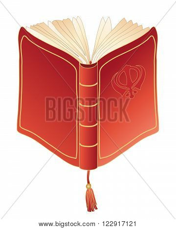 an illustration of a red prayer book with open pages golden trim and book mark on a white background