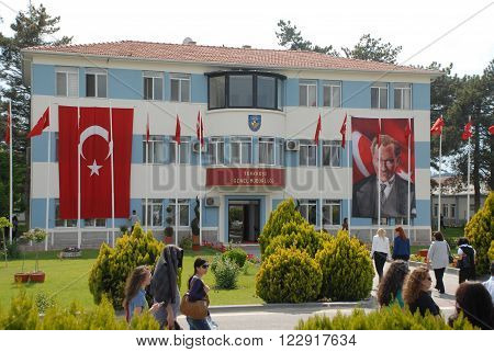 ANKARA/TURKEY-MAY 6: Turkish Air Association-THK's Turkkusu General Directorate building at the Etimesgut Airport during airfest. May 6, 2012-Ankara/Turkey