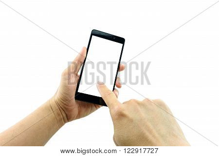 Man's left hand holding a black 5.5 inches touchscreen smartphone while the right hand is touching and making a selection of something on the blank screen. Isolated on white background.
