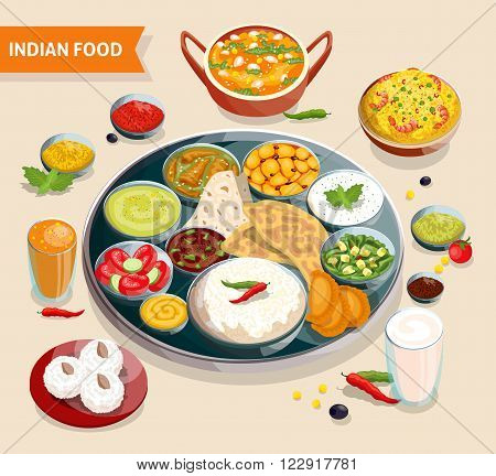 Indian food composition of dishes with seafood beans verdure and sauces also beverages and sweets vector illustration