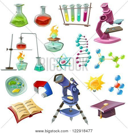 Science decorative icons set with chemical experiments dna microscope telescope biology magnet burner eureka isolated vector illustration