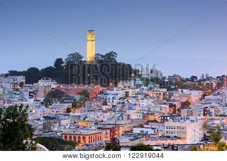 San Francisco, California, USA cityscape at Coit Tower.
