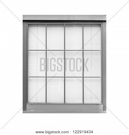 Old style metal window isolated on white background