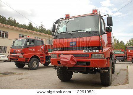 ANKARA/TURKEY-APRIL 27: Firefighter trucks at the Ankara Forest Operation Directorate's garden. April 27, 2012-Ankara/Turkey