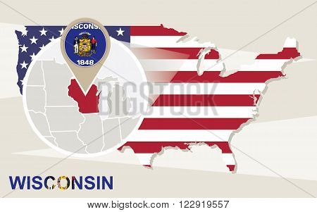 Usa Map With Magnified Wisconsin State. Wisconsin Flag And Map.
