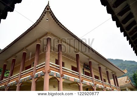 View on building in Hongfa buddhist temple in China