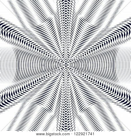 Moire Pattern, Monochrome Vector Background With Trance Effect. Optical Illusion, Creative Black And
